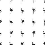 Seamless pattern of small black flamingos and palm trees on a white background