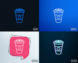 Glitch, Neon effect. Takeaway Coffee or Tea line icon. Hot drink sign. Beverage symbol. Trendy flat geometric designs. Vector