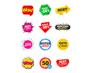 Sale banners. Best offers, discounts tags. Market sale flyers or Clearance special offers. Shopping sale stars templates. Vector illustration