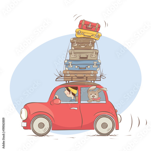 On a journey with a friend and all luggage / Girl goes on a journey with a dog , funny vector illustration