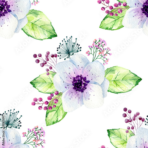 Watercolor seamless floral background. Colorful bouquet of flowers on white. - 198167495