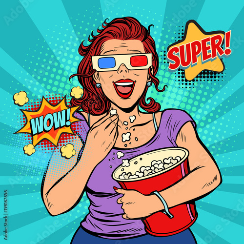 woman in 3D glasses watching a movie, smiling and eating popcorn