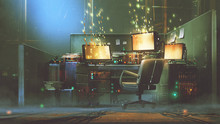 """Постер, картина, фотообои """"futuristic workspace with sparkling particles floating out of glowing screen, digital art style, illustration painting"""""""