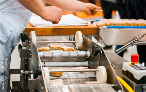 Sticker Cookie industry, production line in confectionery factory