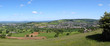 Panoramic view from Selsley Common over a patchwork of fields in The Severn Vale, Gloucestershire, UK.