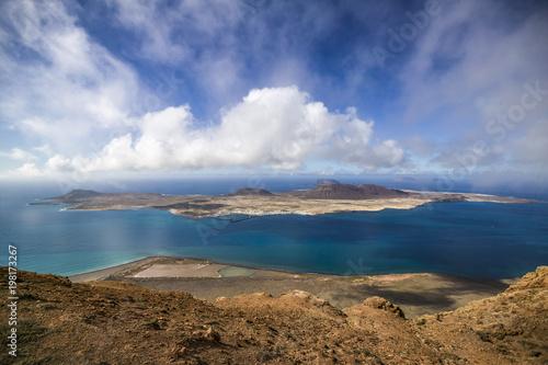 Deurstickers Canarische Eilanden Die Inseln La Graciosa und Lanzarote, Kanarische Inseln, Spanien