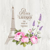 Eiffel tower icon with spring blooming flowers over gray wooden pattern. Vector illustration.
