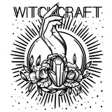 Witchcraft. Witch hand, magic crystal and flowers peonies. linear tattoo print illustration. - 198174654