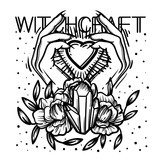 Witchcraft. Witch hand, magic crystal and flowers peonies. linear tattoo print illustration. - 198174680