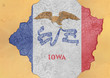 Cracked hole with US state Iowa flag abstract in facade structure big damaged concrete