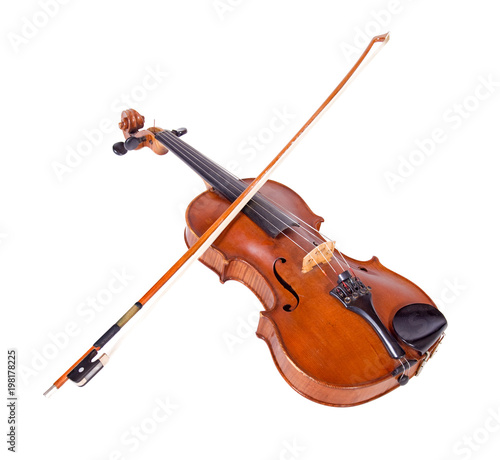 Viola with bow isolated on white background. Instrument for classical music. Fiddlestick lying on the old fiddle. - 198178225
