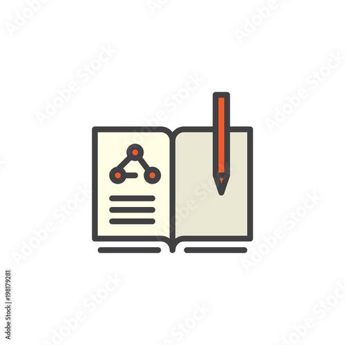 Chemia książki i pióra wypełnione ikony konspektu, linia wektor znak, liniowy kolorowy piktogram na białym tle. Symbol edukacji, ilustracja logo. Doskonała grafika wektorowa pikseli