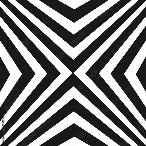 Vector pattern with black and white stripes, diagonal crossing striped lines - 198185825