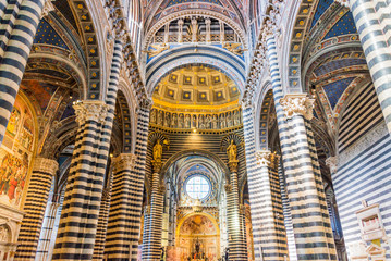 Interior of Siena cathedral (duomo) in Siena, Tuscany, Italy