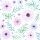 Vector Seamless Pattern of Flowers and Leaves in Pastel Colors - 198187401