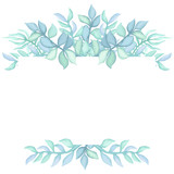 Herbal Frame with Light Blue Leaves - 198187472
