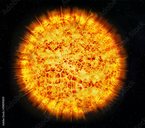 sun burning - surface solar explosion,3d illustration