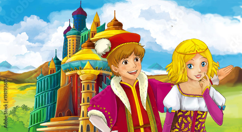 cartoon scene with happy young girl and boy - princess and prince near the castle - illustration for children - 198193685