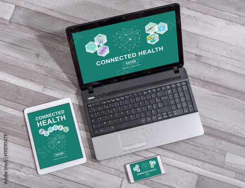 Foto Murales Connected health concept on different devices