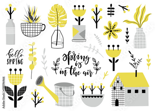 Spring set, hand drawn elements - calligraphy, plants, bouquets and other. Perfect for greeting card, poster, tag, invitation, sticker kit.