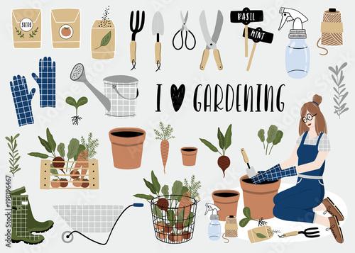 Gardening tools set. Spring time
