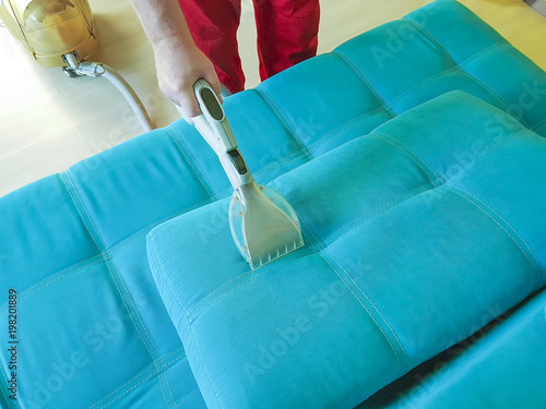 Man Vacuuming Sofa View From Above Buy Photos Ap Images Detailview