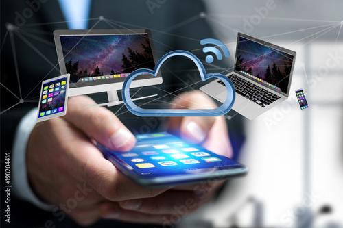Urządzenia jak smartphone, pastylka lub komputer lata nad związaną chmurą, - 3d odpłacają się