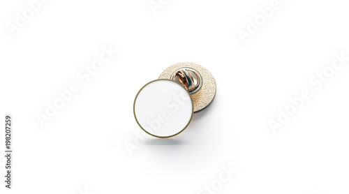 blank white round gold lapel badge mockup stack 3d rendering empty