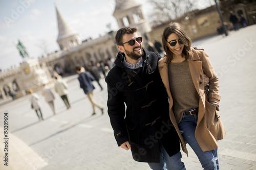 Aluminium Boedapest Loving couple walking in Budapest, Hungary