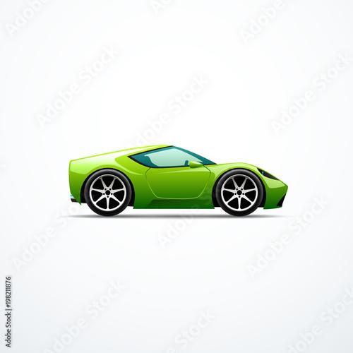 Fotobehang Auto Vector green cartoon sport car. Side view