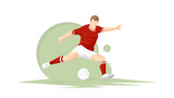 Creative abstract soccer player. Soccer Player Kicking Ball. Vector illustration