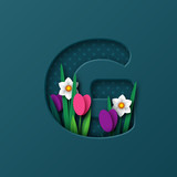 Letter G with paper cut spring flowers tulip and narcissus. Paper craft style. Vector illustration.