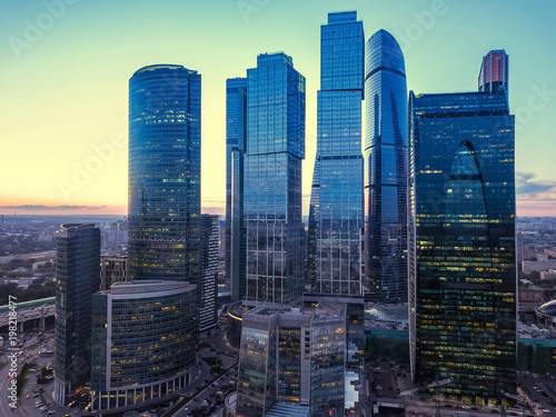Fotobehang Moskou Moscow International Business Center and Moscow urban skyline after sunset