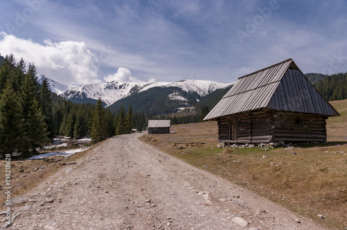 Old huts in the Chocholowska Valley. Western Tatras. Poland.