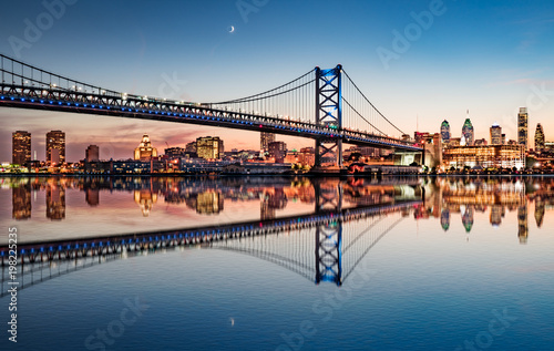 Philadelphia Night Skyline Refection