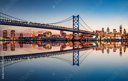 Foto Murales Philadelphia Night Skyline Refection