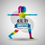 sport woman stretching exercise healthy lifestyle gym vector illustration