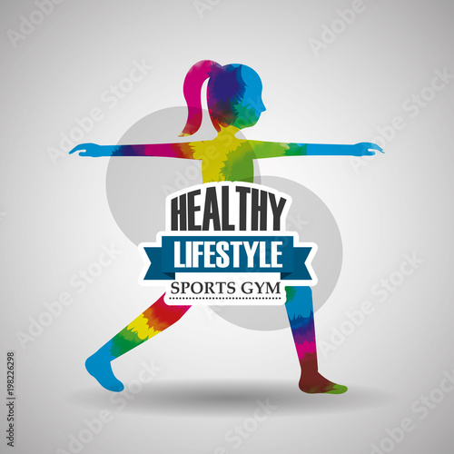 Poster sport woman stretching exercise healthy lifestyle gym vector illustration