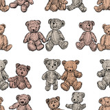 Seamless background of old teddy bears
