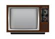 Retro old vintage television on white background
