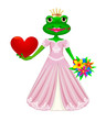 Frog in love.Cartoon princess frog with heart and flowers in their hands