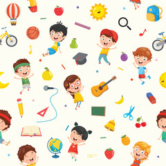Seamless Pattern Of Kids And Objects © yusuf