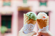 Ice cream over blurred street background - 198233610