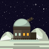 Very large telescope on moon vector illustration graphic design