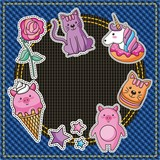 cute piggy cat unicorn flower ice cream patches embroidery denim texture background vector illustration