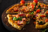 Delicious homemade fresh pizza with shrimps and bacon - 198239888