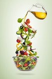 Flying vegetable greek salad isolated on gradient background.