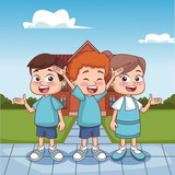 Schoolboys outside school building vector illustration graphic design