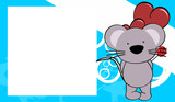 cute baby mouse love valentine picture frame background in vector format very easy to edit