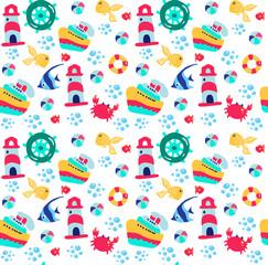 Summer sea seamless pattern. Seamless background . Vector illustration 10 EPS © anna_zasimova